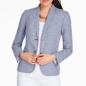 Talbots Blue White Gingham Blazer Jacket Size 4